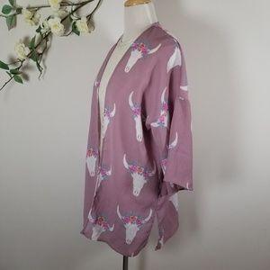 Pink Rose Purple Bull Print Kimono - M